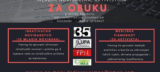 JAVNI POZIV ZA OBUKU: Istraživačko novinarstvo i medijska pismenost
